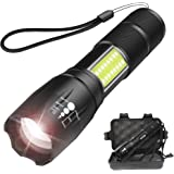 Tactical 1000 Lumens LED Flashlight with COB Light - Portable, Zoomable, Water & Shock Resistant, CREE T6 LED Handheld Light with 4 Modes - Super Bright Torch for Outdoors, Home and Emergency (Black)