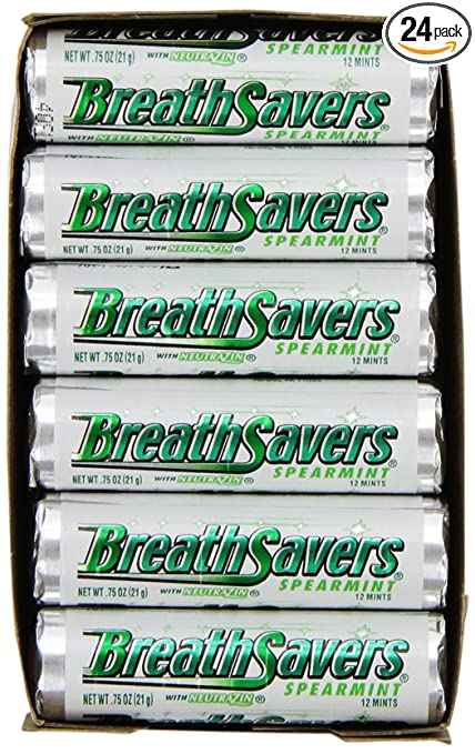 BREATH SAVERS Mints in Spearmint Flavor (0.75-Ounce Rolls, Pack of 24) (packaging may vary)