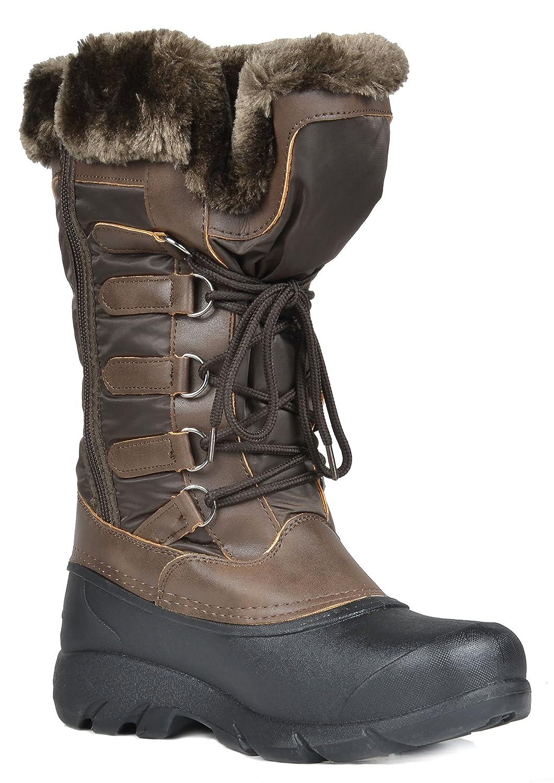 d4f91603a DREAM PAIRS Botas de nieve de invierno para mujer de piel de becerro del  norte de EE. UU. Tapanz-marrón