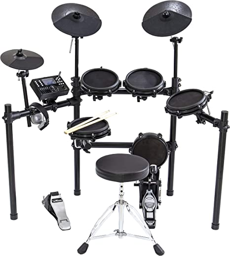 ZHRUNS Electronic Drum Kit with Mesh Head 8 Piece, Drums Mesh Kit with Iron Metal Assemble Rack and Drum Throne, 300 Sounds 30 Play Along Tracks,Custom Sample Loading and USB/MIDI Connectivity