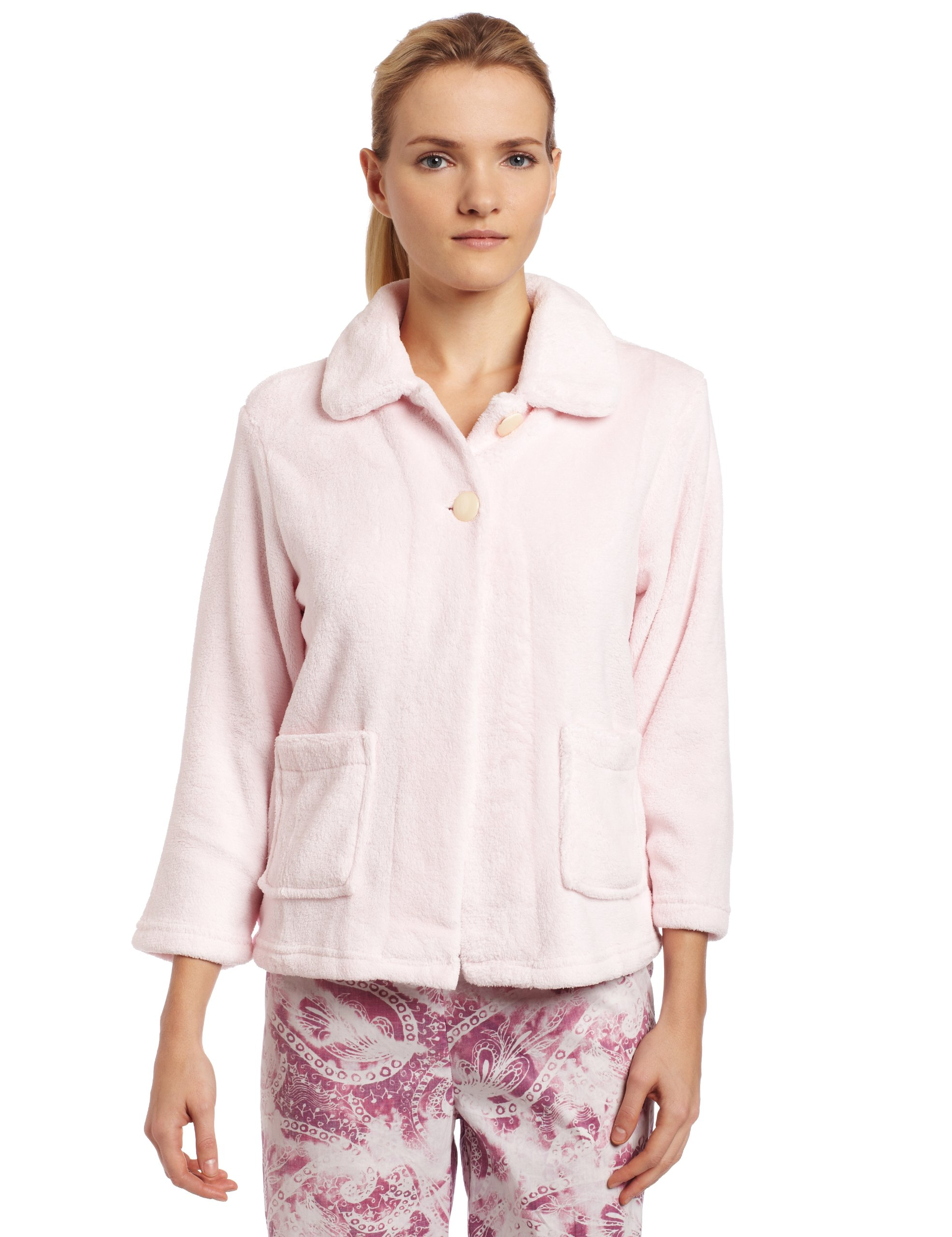 Casual Moments Womens Bed Jacket With Peter Pan Collar, Light Pink, Small by Casual Moments