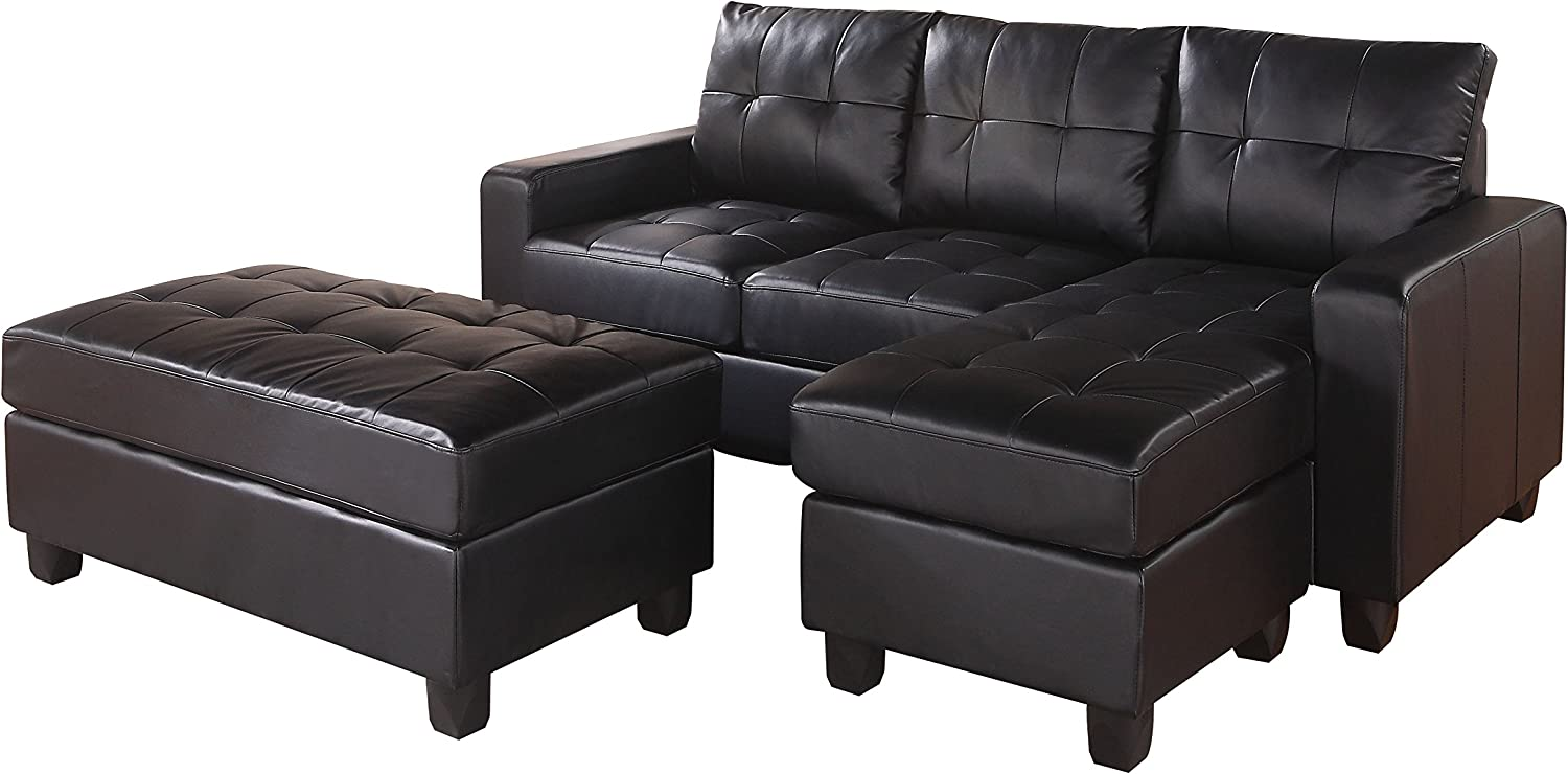 Amazon Com Acme Lyssa Sectional Sofa W Ottoman 51215 Black Bonded Leather Match Furniture Decor