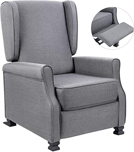 Homall Wingback Modern Fabric Single Sofa Medieval Living Room Arm Home Theater Seating Push Back Club Chair Reclining, Gainsboro