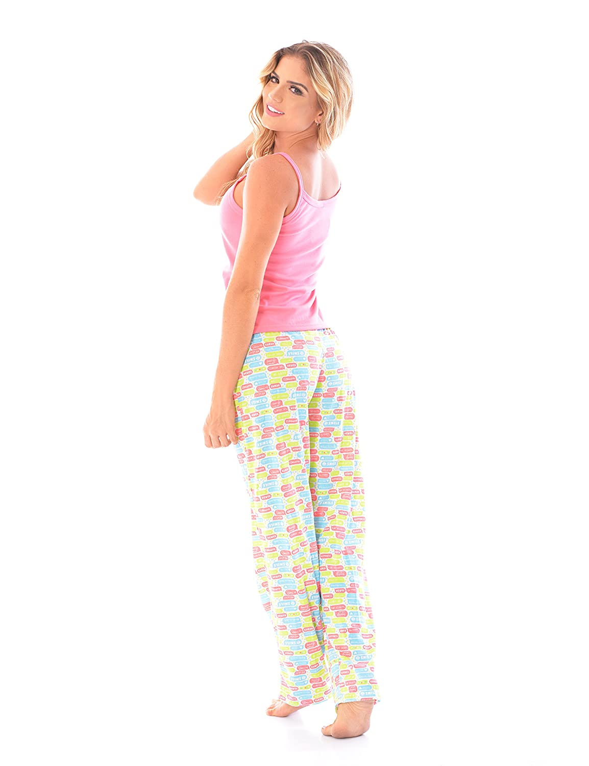 BELLA MIMOSA Womens Pajama Pants + Strap Camisole Tank Top Set/2 Piece PJ Matching Cami Top and Pants at Amazon Womens Clothing store: