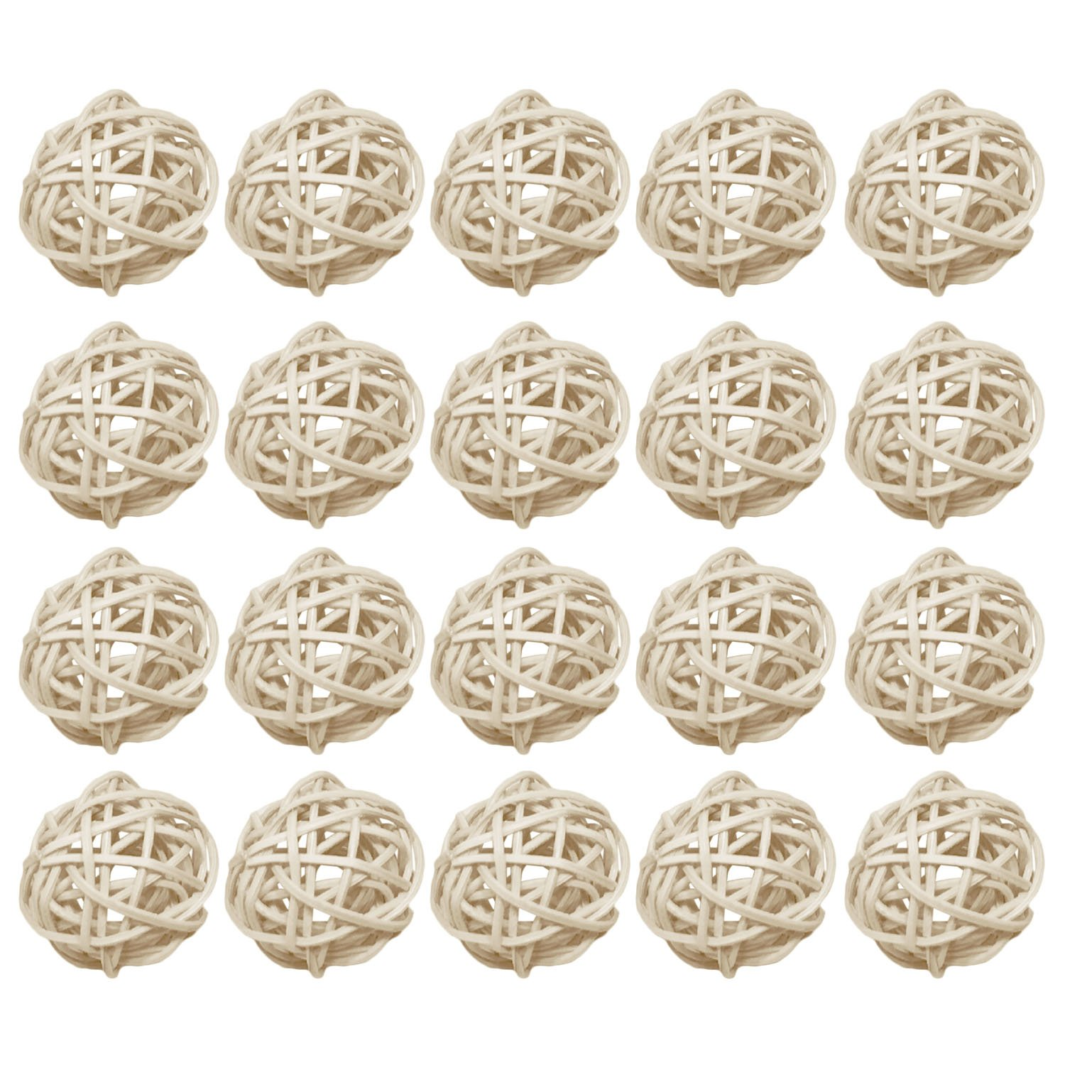 20 PCS Stylish Decoration Rattan Ball Ornaments for Christmas Halloween Wedding Party Home Garden Hotel Decoration DIY Craft White Gosear