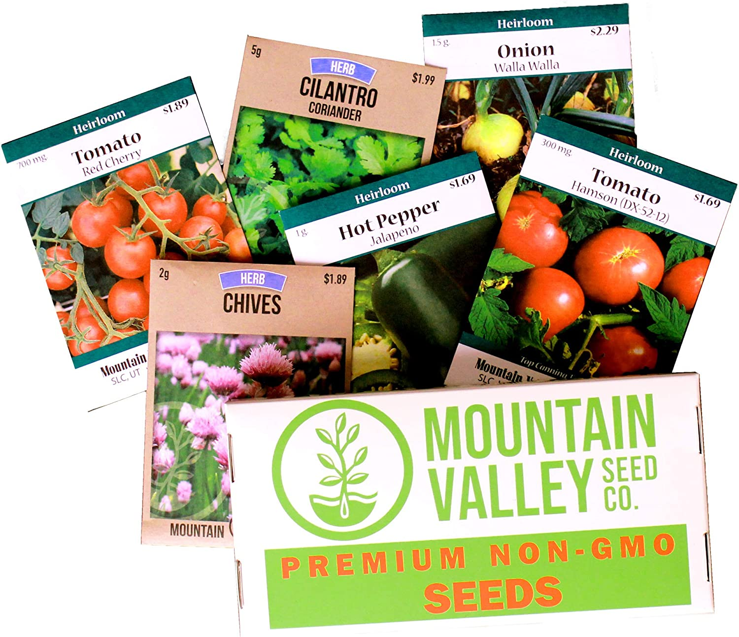 Mexican Seed Salsa Garden Collection | Basic Assortment | Grow Vegetables for Salsa, Hot Sauce, Pico De Gallo | 6 Non-GMO Vegetable Gardening Seed Packets: Jalapeno, Tomato, Cilantro, Onion, Chives,