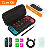 Switch Case for Nintendo Switch,Switch Accessories for Nintendo Switch,Includes Carry Case,Screen Protectors,Skins,Charge Cable,Wipes,Paper Box,Wristlet,Hard Shell,All In One Starter Kit,Black