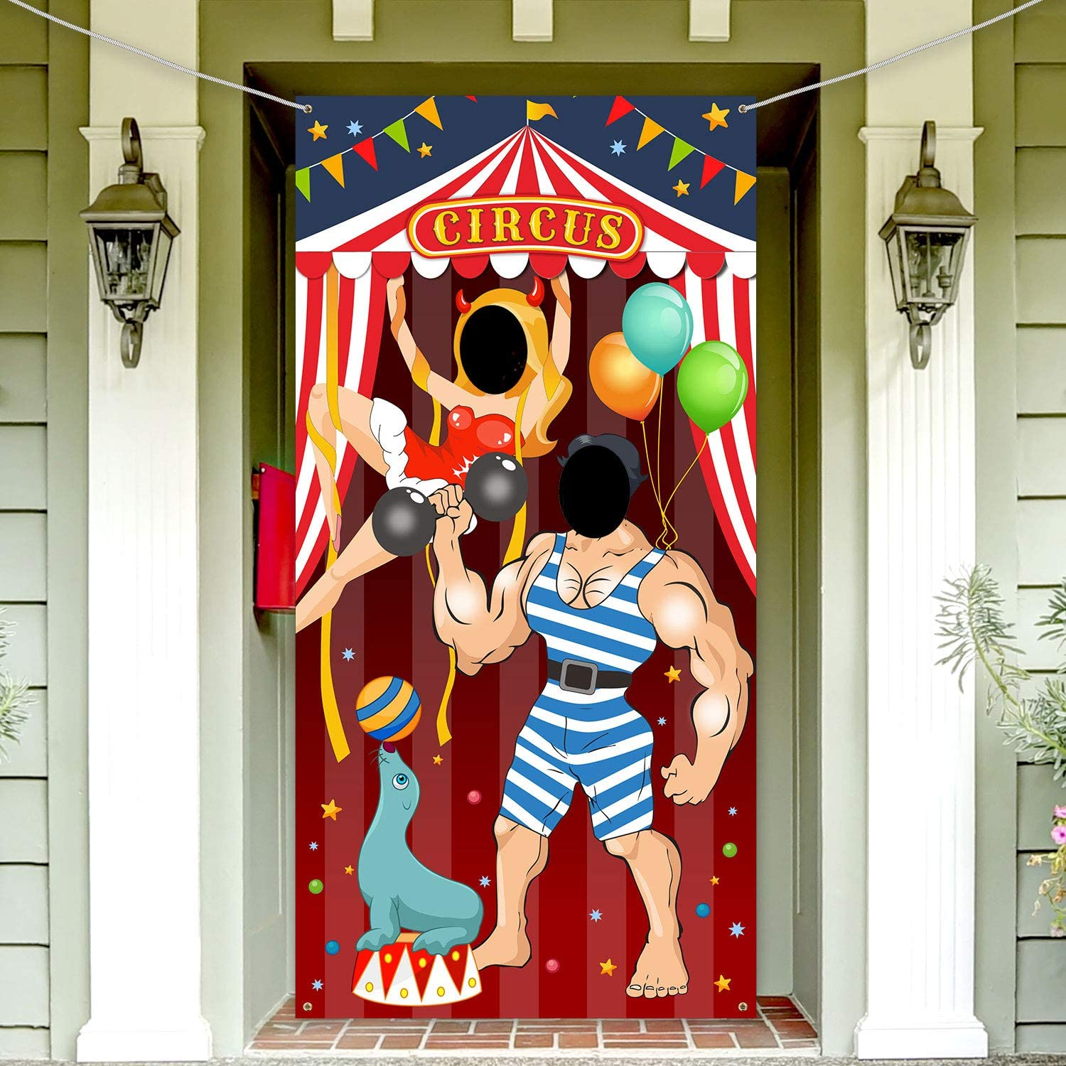 Carnival Circus Party Decoration Carnival Photo Door Banner Backdrop Props, Large Fabric Photo Door Banner for Carnival Circus Party Decor Carnival Game Supplies (Hercules)