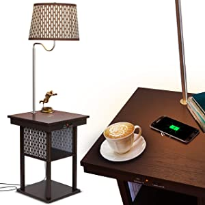 Brightech - Madison LED Floor lamp with Wireless Charging Pad & USB Port, Shelves & Bedside Table Nighstand with Lamp attached - Mid Century Modern End Table for Living Rooms - Havana Brown