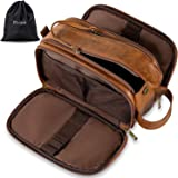 Elviros Toiletry Bag for Men, Large Travel Shaving Dopp Kit Water-resistant Bathroom Toiletries Organizer PU Leather Cosmetic