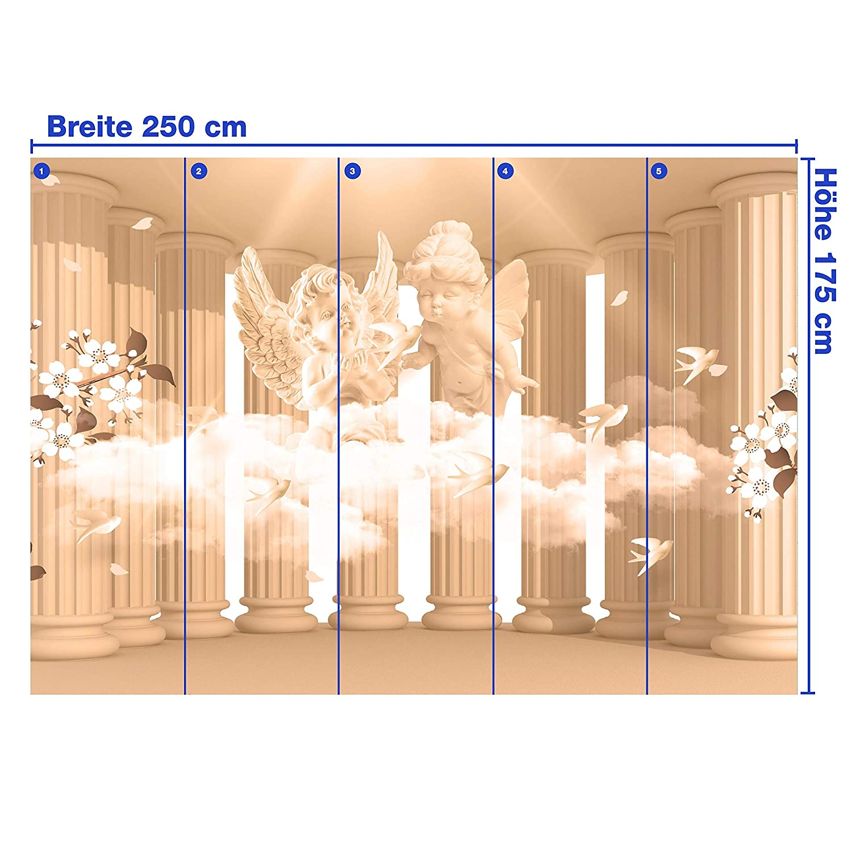Wandmotiv24 Fototapete Säulen Engel Blaumen Sepia Wolke 3D Säule antik antik antik Raum Erweiterung mystisch M1854 XXL 400 x 280 cm - 8 Teile Wandbild - Motivtapete B07NF1RDVK Wandtattoos & Wandbilder 338813
