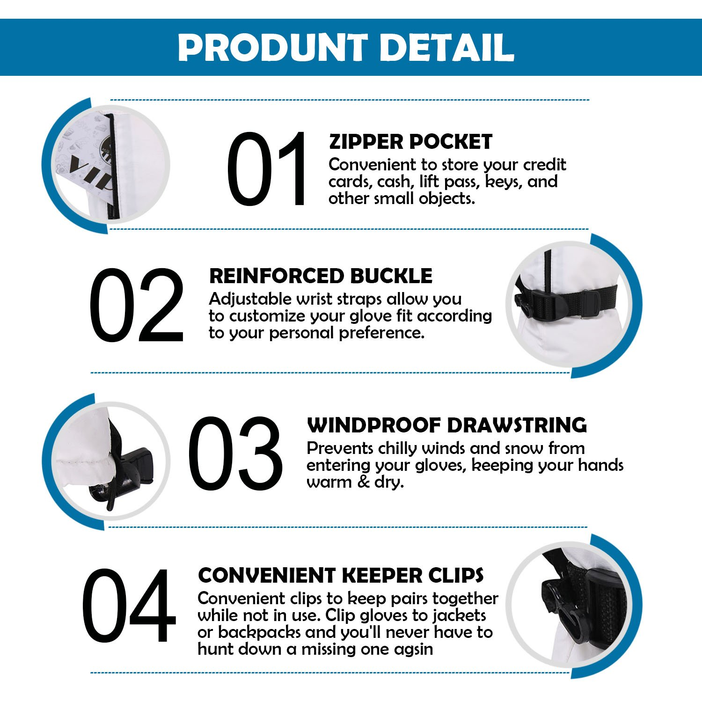 ANDORRA Men Waterproof Thinsulate Insulation Touchscreen Winter Ski Gloves w//Zippered