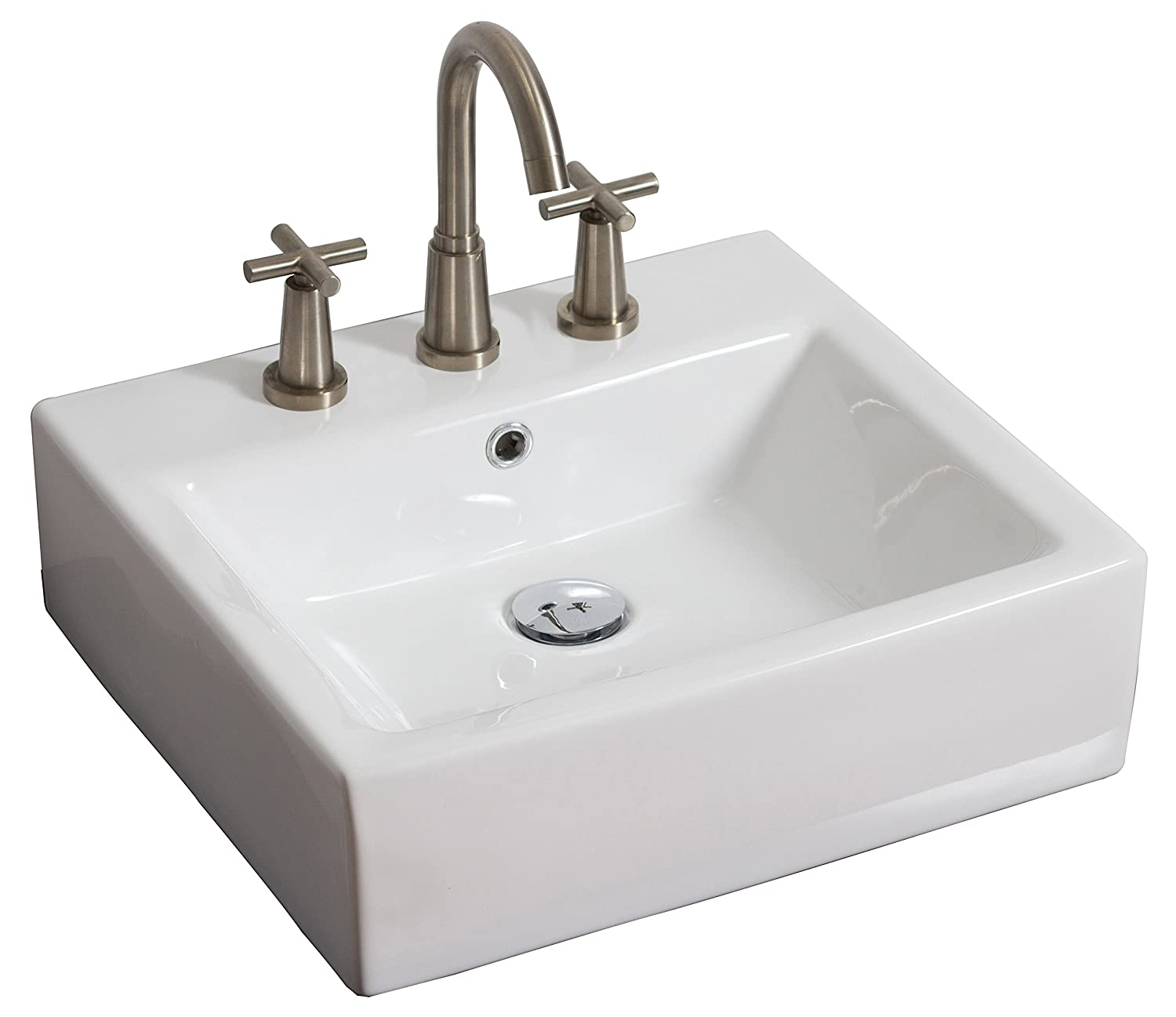American Imaginations AI-12-439 Above Counter Rectangle Vessel for 8-Inch OC Faucet, 20-Inch x 18-Inch, White IMG Imports Inc.