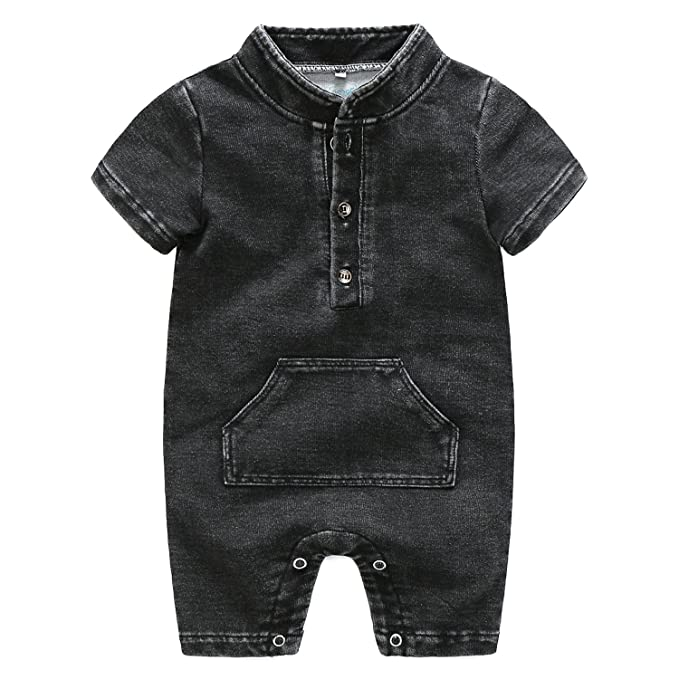 38e995d63443 Amazon.com  Newborn Infant Baby Boy Girl Short Sleeve Denim Romper ...