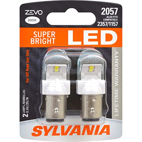 Amazon.com: SYLVANIA - 2057 ZEVO LED White Bulb - Bright LED Bulb, Ideal for Daytime Running Lights (DRL) and Buck-Up/Reverse Lights (Contains 2 Bulbs): ...