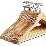 Zoyer Wood Suit Hangers (20 Pack) - Premium Quality Wooden Coat Hangers - Strong and Durable Suit Hangers - Natural