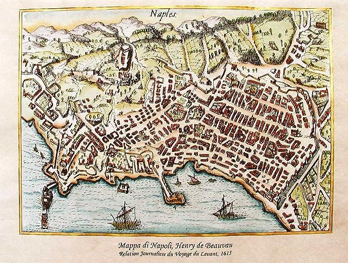 La Cartina Di Napoli.Florenceprints Stampa D Arte Mappa Di Napoli 1615 42x30 Su Carta Antica Stampata E Dipinta A Mano Amazon It Casa E Cucina