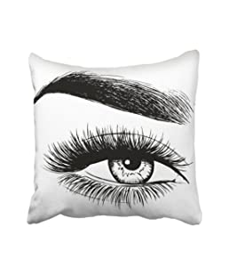 Emvency Black Eyelash Beautiful Woman Eye White Brow Eyebrow Beauty Face Close Makeup Model Throw Pillow Cover Covers 20x20 inch Decorative Pillowcase Cases Case Two Side