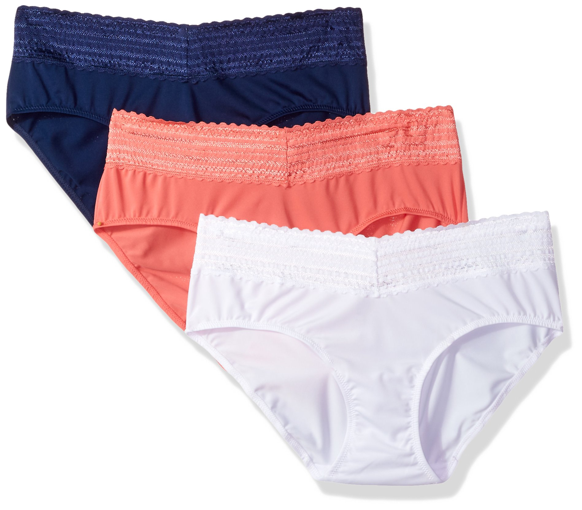 Warner's Women's Plus Size Blissful Benefits No Muffin Top 3 Pack Lace Hipster Panties, White/Navy Ink/Coral Crush, 2XL
