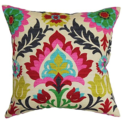 the pillow collection tahsis floral pillow multicolor - The Pillow Collection