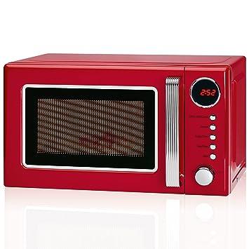 Microondas con grill 20 litros retro estilo vintage, 700/1000W, 5 niveles potencia