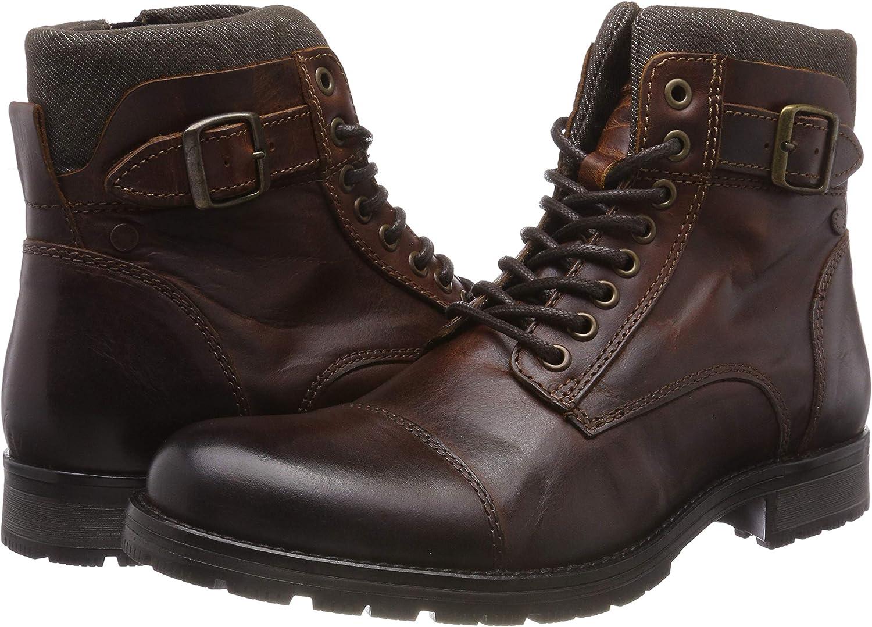 JACK /& JONES Herren Jfwalbany Leather Brown Stone STS Biker Boots