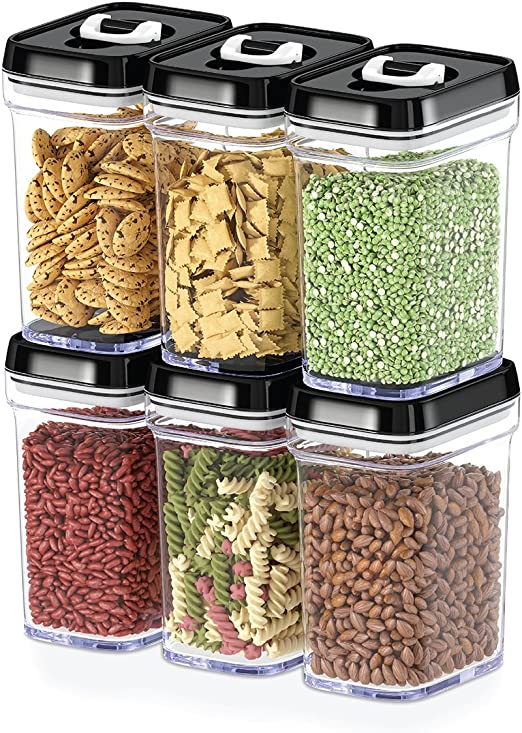 DWËLLZA KITCHEN Airtight Food Storage Containers with Lids – 6 Piece  Set/All Same Size - Air Tight Snacks Pantry & Kitchen Container - Clear  Plastic ...