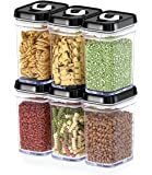 DWËLLZA KITCHEN Airtight Food Storage Containers with Lids – 6 Piece Set/All Same Size - Air Tight Snacks Pantry & Kitchen Container - Clear Plastic BPA-Free - Keeps Food Fresh & Dry