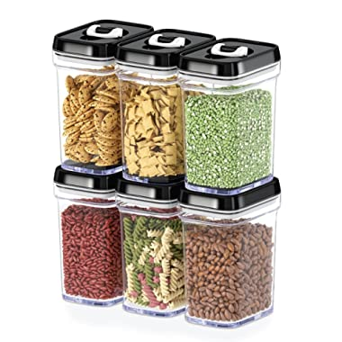 Dwellza Kitchen Airtight Food Storage Containers with Lids – 6 Piece Set/All Same Size - Medium Air Tight Snacks Pantry & Kitchen Container - Clear Plastic BPA-Free - Keeps Food Fresh & Dry