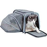 Petsfit Expandable Cozy Cat Carrier, One-Side Pet Carrier Most Airline Approved Grey and Blue Trim 45.7cm x 27.9cm x 27.9cm