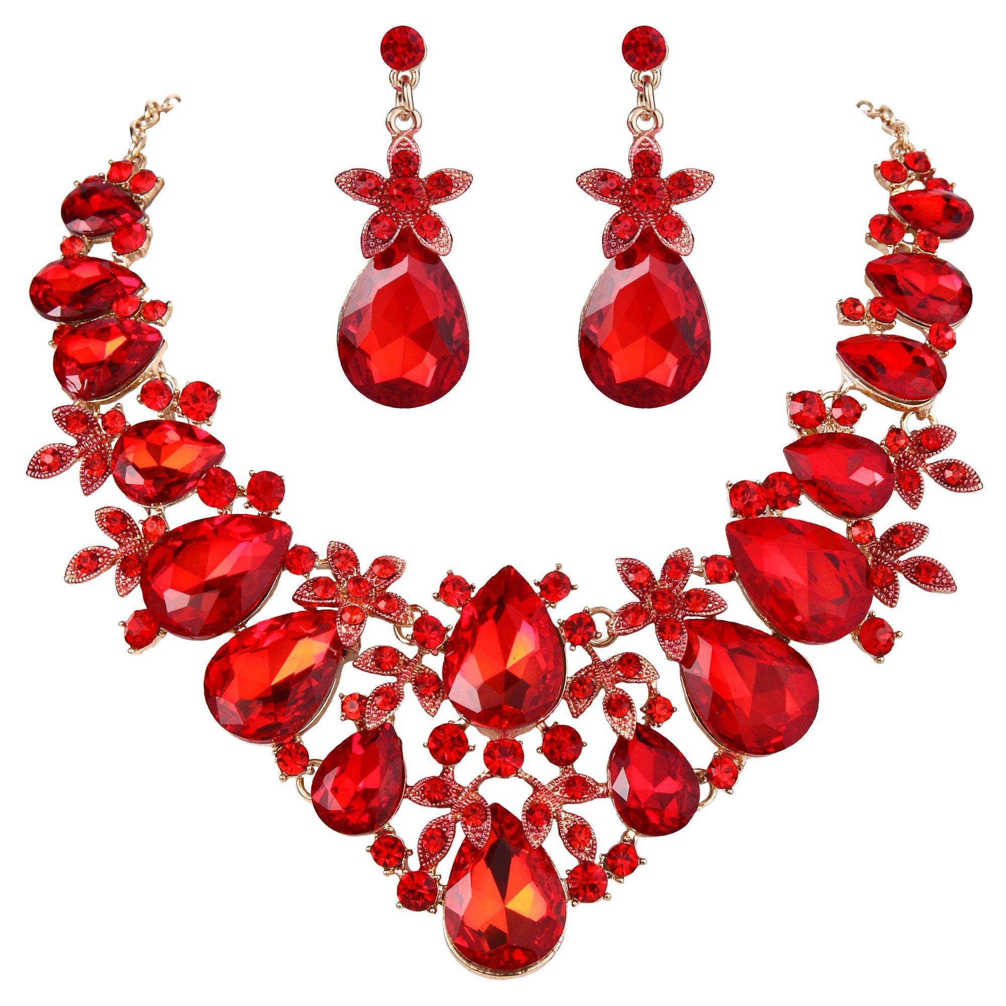 BriLove Women's Bohemian Boho Crystal Flower Leaf Vine Teardrop Statement Necklace Dangle Earrings Set Ruby Color Gold-Toned