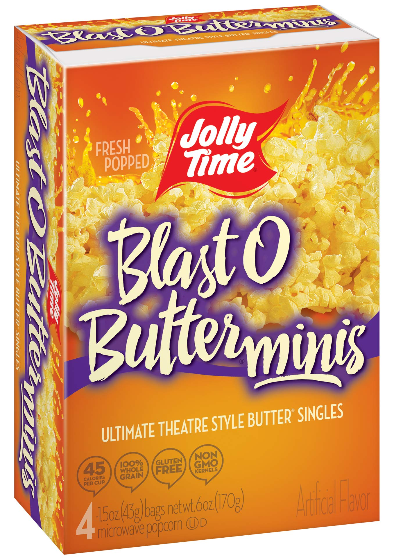 Jolly Time Blast O Butter Movie Theater Microwave Popcorn Mini Bags, 4-Count Boxes (Pack of 12) by Jolly Time (Image #4)