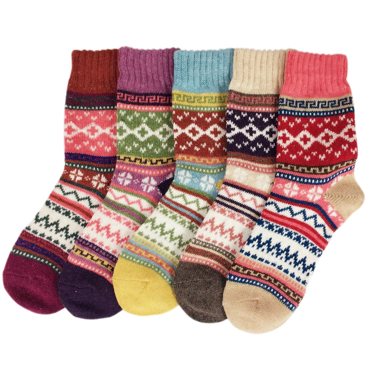 JOYEBUY 5 Pack Winter Fall Women Socks Vintage Style Cotton Knitting Wool Warm Crew Socks (One Size, Style 5) by JOYEBUY (Image #3)