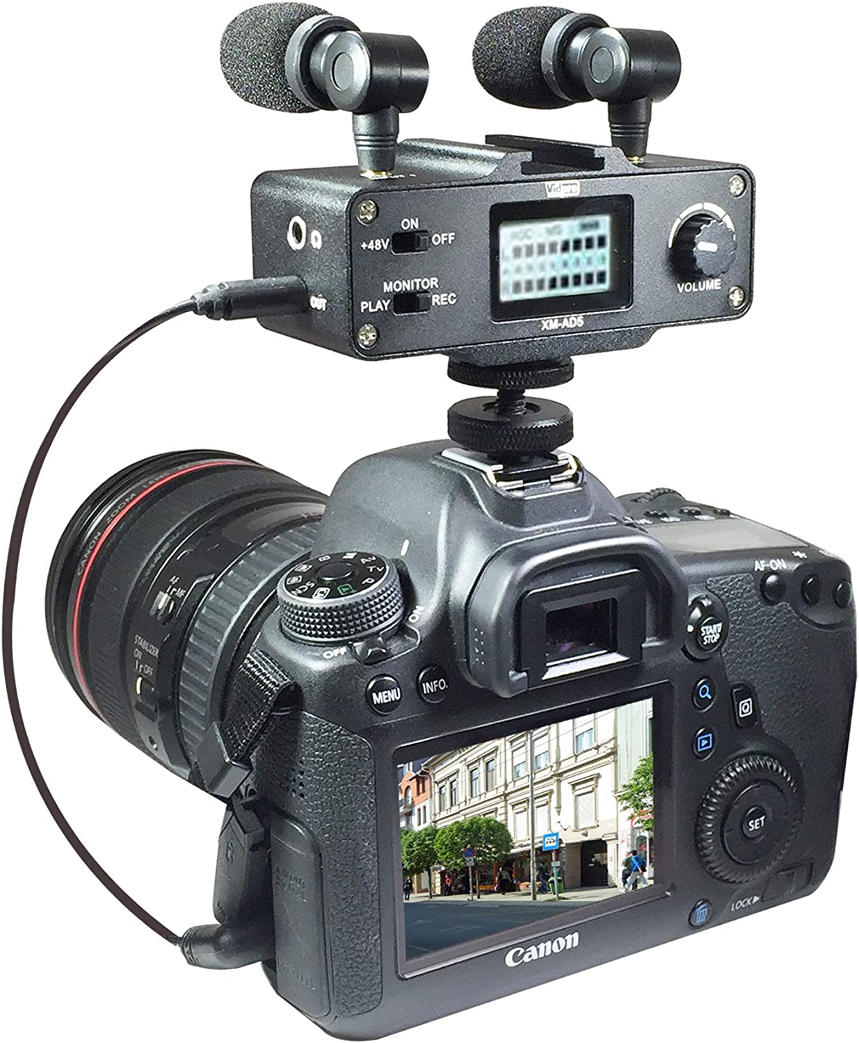 Panasonic NV-DS77 Camcorder External Microphone Vidpro XM-AD5 Mini Pre-Amp Smart Mixer with Dual Condenser Microphones for DSLR/'s Video Cameras and Phones with SDC-26 Case