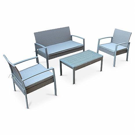 Alice\'s Garden - Salon de Jardin en résine tressée - Vicenzo - Gris Clair,  Coussins Gris - 4 Places - 1 canapé, 2 fauteuils, Une Table Basse