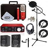Home Recording Studio Bundle MXL 550/551R SR350 Stand Focusrite Scarlett 2i2 (2nd GEN) Samson Media ONE BT3 Speakers