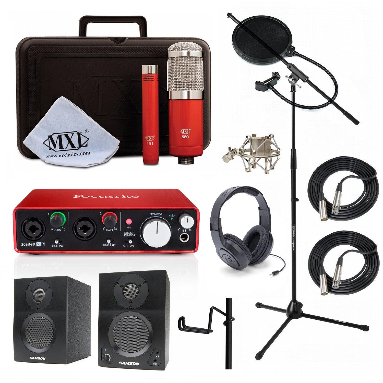 Home Recording Studio Bundle MXL 550/551R SR350 Stand Focusrite Scarlett 2i2 (2nd GEN) Samson Media ONE BT3 Speakers by Focusrite