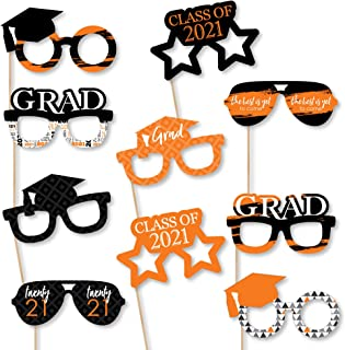 product image for Big Dot of Happiness Orange Grad Glasses - Best is Yet to Come - Orange 2021 Paper Card Stock Graduation Party Photo Booth Props Kit - 10 Count