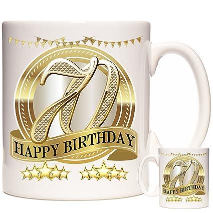 HAPPY BIRTHDAY MUG 70th Birthday Ceramic Gift Mug Super For Someone Celebrating Their