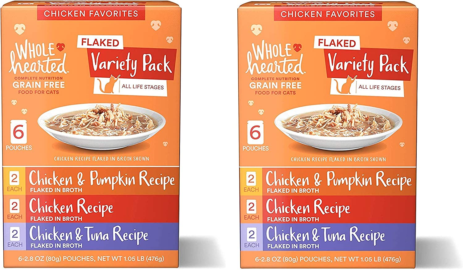 WholeHearted Grain Free Flaked Wet Cat Food Variety Pack for All Life Stages.