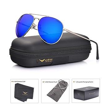 335525ceb5f LUENX Aviator Sunglasses Men Women Polarized with Case - UV 400 Mirror Blue  Lens Metal Siver