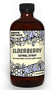 Hany's All Natural Elderberry Oxymel Syrup Traditional Herbal Formula with raw Honey, Unfiltered Apple Cider Vinegar and Lemon Plus Cloves, Cinnamon and Orange Peel Alcohol Free Cane Sugar Free 8 oz