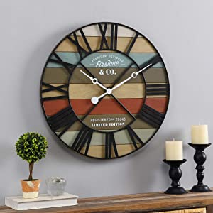 FirsTime & Co. Colorful Maritime Farmhouse Planks Clock, American Crafted, Multi-Color, 24 x 2 x 24 ,
