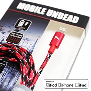 Mobile Undead [Apple MFi Certified] Lightning to USB Cable - Nylon Braided Aluminum Housings 5 Feet for iPhone 12/11 Pro Max 12 Mini XS XS Max XR X 8 8 Plus 7 7 Plus iPad Pro Air Mini iPod (Vampire)