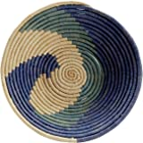 Raffia and Palm Leaves Centerpiece Food Basket 'Blue Spell Basket'