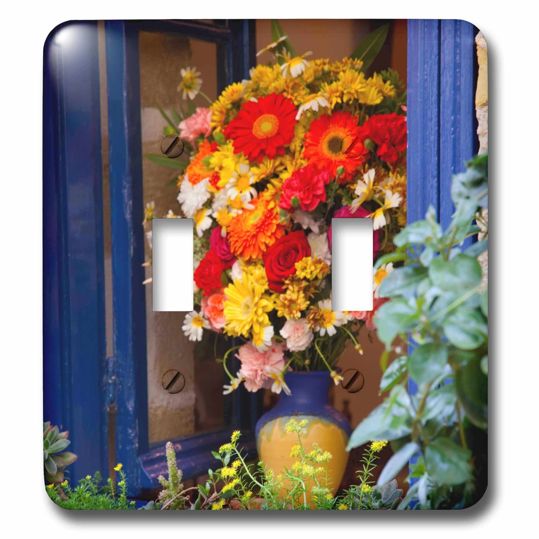 3dRose Danita Delimont - Flowers - Greece, Crete, Chania, Window in Chania - Light Switch Covers - double toggle switch (lsp_277430_2)