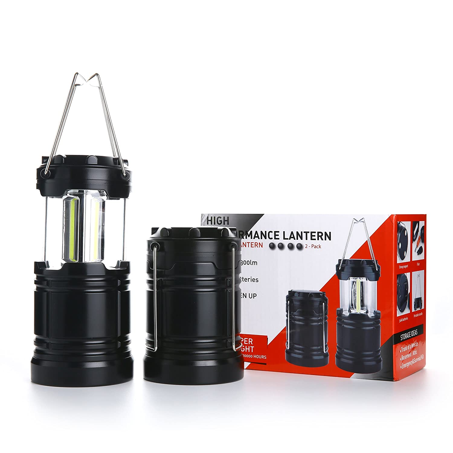 2 Pcs Military Grade Camping Lantern Tactical Lantern COB LED with Magnetic Base for Hurricanes, Emergencies, Storms, Outages