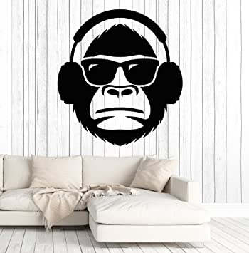 Vinyl wall decal cool monkey head in sunglasses musical headphones stickers large decor 2055ig