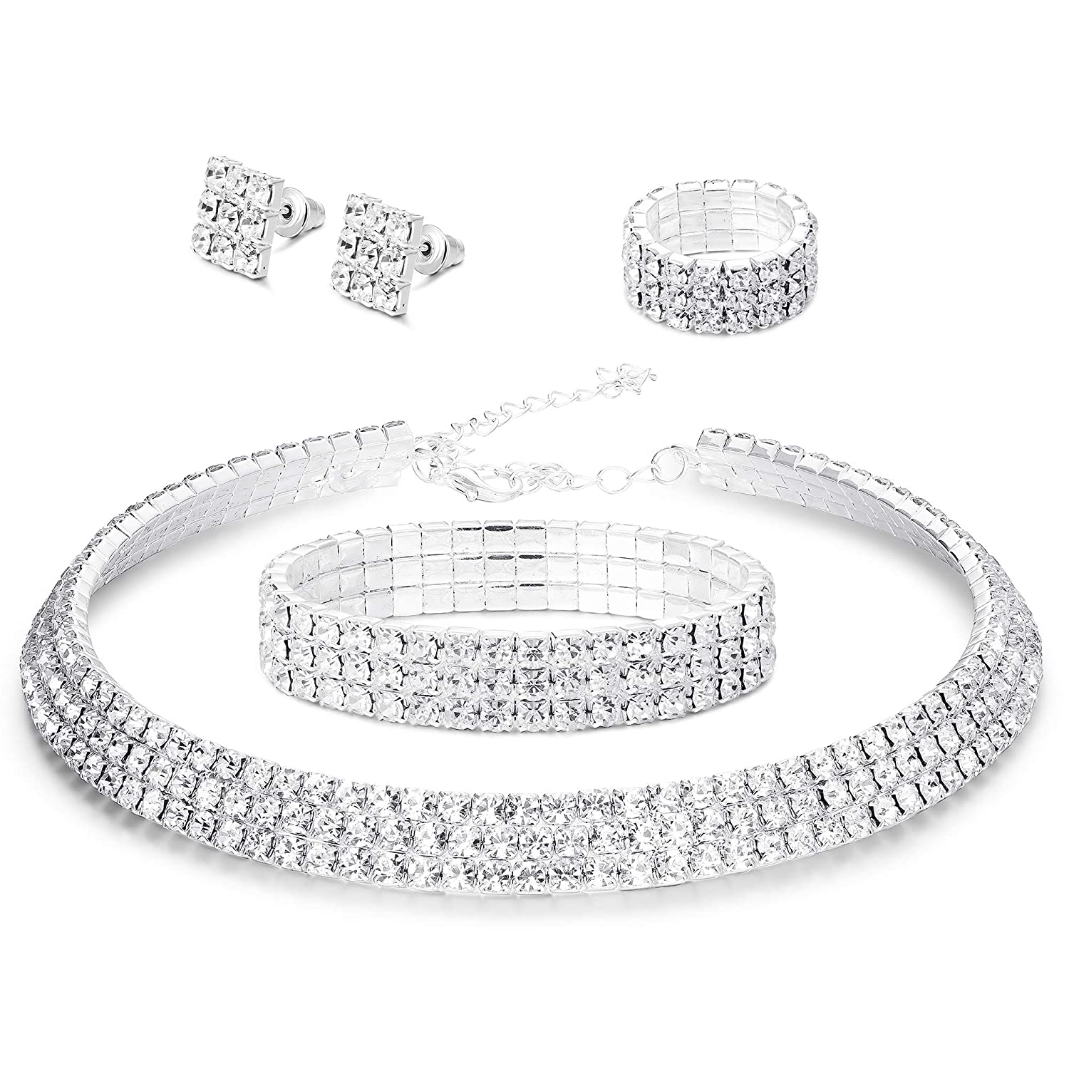 LOYALLOOK Bridal Jewelry Set Crystal Jewelry Set for Women Costume Jewelry for Women Fashion Jewelry Sets LK-Y-N0002-Set