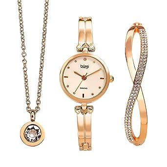 3ee7e2f8b6b589 Burgi Women's 3 Piece Jewelry Gift Set – Half Bangle Diamond Watch with  Swarovski Crystal Pendant Necklace and Bracelet Flash Plated -